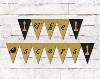 Oscar Party Flag Bunting - Academy Awards. Oscar Party Decor. Flag Bunting. Film Party. Print Yourself. *Instant Download*