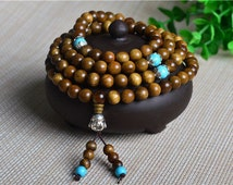 6,8mm 108PCS Natural Phoebe Gold Cat Eye Wood Prayer Buddha Mala Meditation Beads Round Loose Beads E106