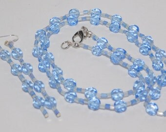 Sky Blue Crystals Necklace Earrings