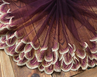 2 Yards Lace Trim Floral Embroidered PurpleTulle Lace 8.66 Inches Wide High Quality YL438