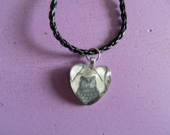 Heart shaped glass tile Owl pendant, Owl, Pendant, Necklace