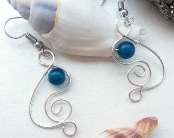 Wirewrapped apatite earrings, Blue apatite earrings, Gemstone bead earrings