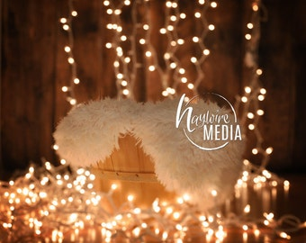 Newborn, Baby, Toddler, Child, Christmas Sparkle Lights Photography Digital Backdrop Prop for Photographers in Basket & Fur Coverup Layer