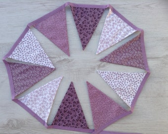Lilac, mauve Bunting, shades of purple Garland, gift for her, home decor gift, girls bedroom decor,gift for girl