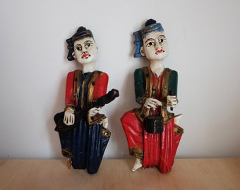 Pair of Vintage Carved Wood Oriental Musician Wall Hanging Figurines