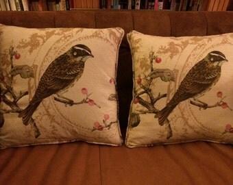 Designer Bird Print Pillows