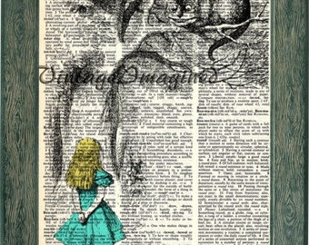 Alice in Wonderland dictionary art print on upcycled dictionary page 8x10
