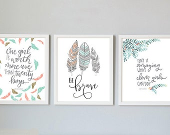 peter pan girl nursery art 3 pack, peter pan quote, 8x10 printable, coral and mint, disney quote nursery decor, watercolor feathers wall art