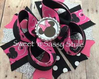 """Minnie Mouse 5"""" Pink, Silver & Black Stacked Boutique Hair Bow"""