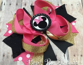 """Minnie Mouse 5"""" Pink, Gold & Black Stacked Boutique Hair Bow"""