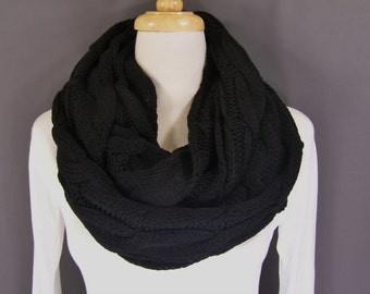 Black cable knit infinity scarf soft chunky knit circle endless loop long circular Black scarf cabled scarf fall winter scarf