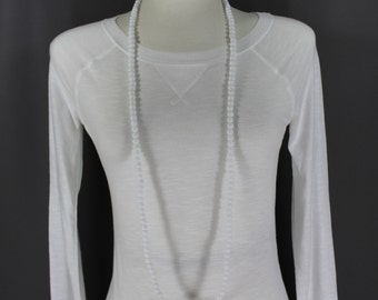 """White super extra long beaded necklace 44"""" long double wrap strand"""