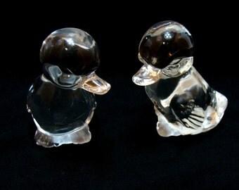 Vintage Fenton duck pair -2 Cute glass duckling birds