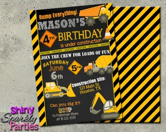 "Construction invitation on chalkboard - ""CONSTRUCTION Birthday INVITATION"" - DIY printable invitation for construction party - Dump Truck"