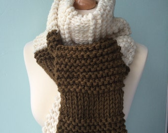 SUMMER SALE! WAS 45.00 - Merino blend hand knitted colour block long scarf - cream & khaki green