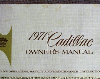 1971 Cadillac Owner's Manual Automobile Guide Vintage 1970s