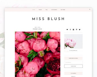 Blush - Wordpress - Wordpress Theme — RESPONSIVE Wordpress Website Theme — Self-hosted Wordpress Blog Theme — Feminine Website