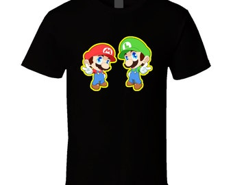 Super Mario Bros. - Mario and Luigi - Black T-Shirt