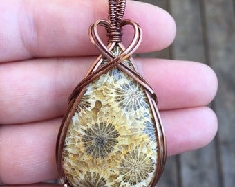 Designer Coral Fossil Heart Wire Wrapped Pendant