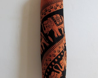 Yoga Mat Bag Pilates Mat Bag handmade Indian Tribal Elephant Bespoke Orange Black (b11) Free Gift Choice Free UK Delivery