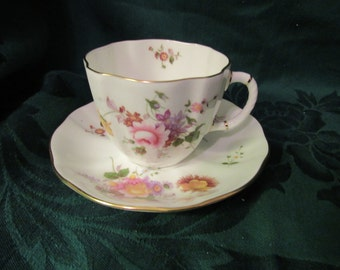 Bone China Floral Cup and Saucer, Made in England