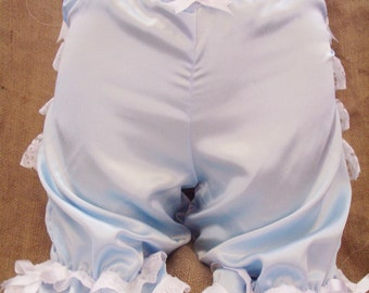 Cute,baby blue satin and white lace/bows Victorian style bloomers! Steampunk,kawaii,lolita,Wild West,Pin-up,boudoir,fancy dress,Pioneer!
