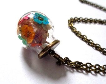 Bronze tone, bronze pendant glass globe necklace with real dried coloured flowers glass orb necklace