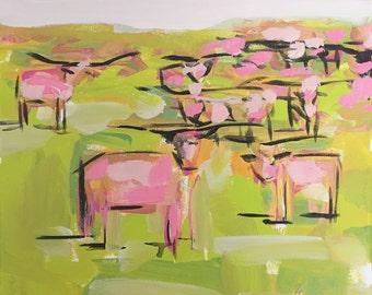 Pink Cows Print, print of original, pink painting