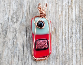 Red and Green Fused Glass with Red Dichroic, Copper Wire Wrapped