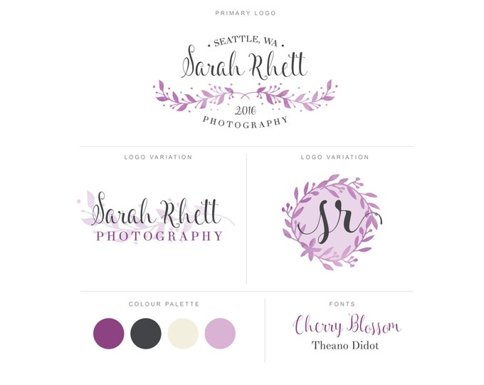Branding Package - Photography Logo and Watermark - Cute Font Script - Logo Design - Watermark - Premade Marketing Kit - BPL04