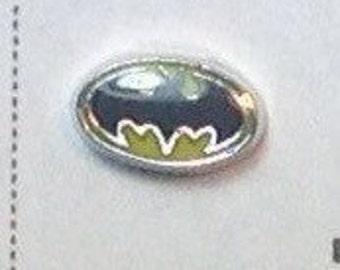 SUPERHERO bat symbol floating charm