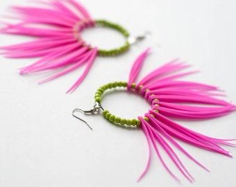 Fashion Pink Earrings Green Beads,Larg Hoop Earrings,  Summer Earrings, Silicone Earrings, Fringe Earrings