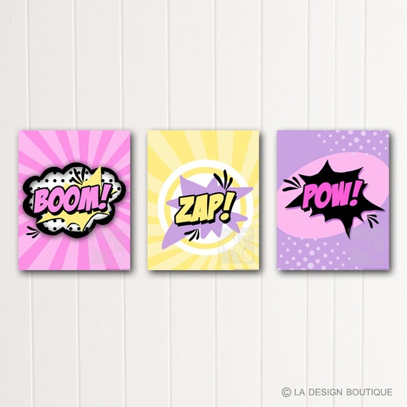 girl bedroom wall art super hero typography art comic book