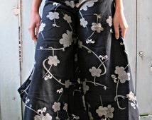 New Cherry Blossom Flower Print Wide Leg Dress Pants