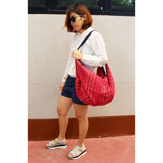 Red Cotton bag Big bag Comfy bag Backpack Handbags Hippie bag Hobo bag Shoulder bag Sling bag Messenger bag Cross body Purse (H 30)