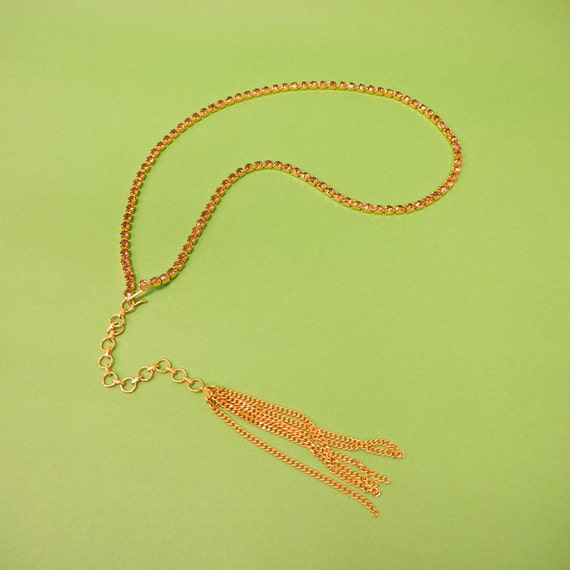 Vintage Gold-toned Rhinestone and Tassel Lariat - style Necklace or Belly - chain