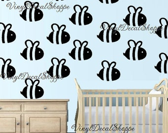 Set Of 6 Bumble Bee Nursery Wall Decals Theme Room Large