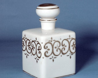 Vintage Milkglass Vanity Bottle with Gold Detailing and Stopper