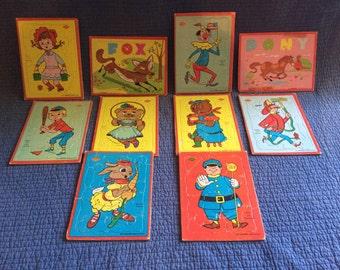 10 Vintage Built-Rite Puzzles/Vintage Children Puzzles