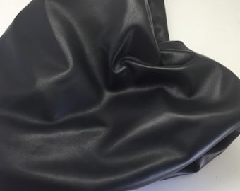 "Italian Genuine Lambskin Leather Hide Fine 1.5 Oz Napa Skin Over 40"" Long Black"