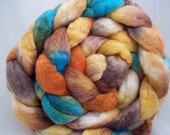 Hand dyed 18.5 micron merino/tencel 50/50 combed top for spinning or felting-- 5.6 oz.