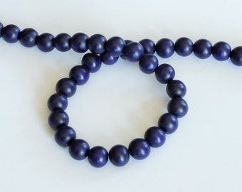 Indigo Wood Beads, Round Wood Beads, 12mm, Lightweight Beads, Fast Shipping from USA
