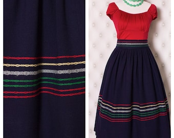 Vintage Navy Wool and Embroidery 1950's Gathered Skirt
