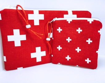 Waterproof First Aid Bag, Set of 2, Red Cross First Aid Pouch, Easily Identifiable First Aid Bag, Zipper First Aid Pouch