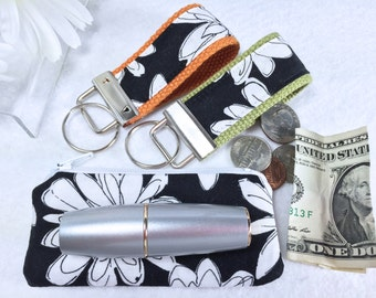 3 Piece Set Mini Key Fob and Zipped Lipstick Coin Purse Set, Earbuds Headphones Case, Mother's Day Gift Under 10 Dollars