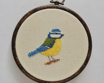 Cross stitch bird. Blue Tit. Blue Titmouse. small cross stitch. cross stitch bird pattern. cross stitch bird chart.