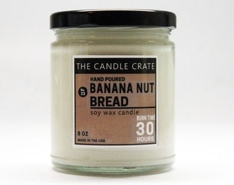 Banana Nut Bread 8 Ounce Scented Soy Wax Candle Hand Poured Highly Scented and Eco Friendly