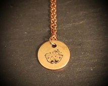 comedy tragedy necklace happy sad face chain bipolar awareness depression PTSD jewellery copper necklace 16mm round gift for him her mr mrs