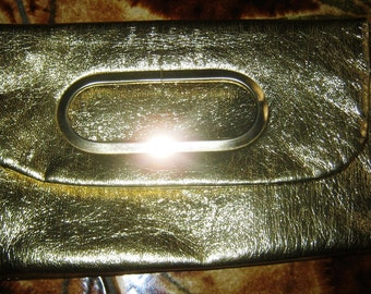 ON SALE - 1970's Gold Faux Leather Mini Clutch bag
