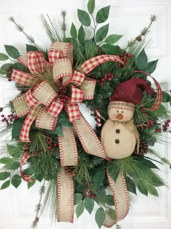 Christmas Wreath Winter Wreath Snowman Wreath Country